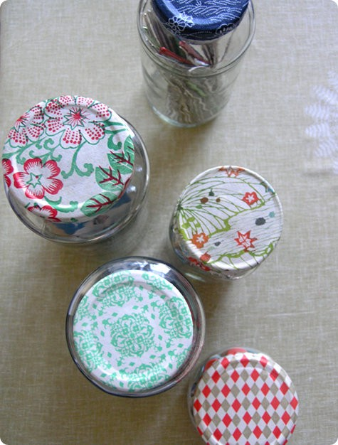 photo: scrap paper projects - cool jar lids