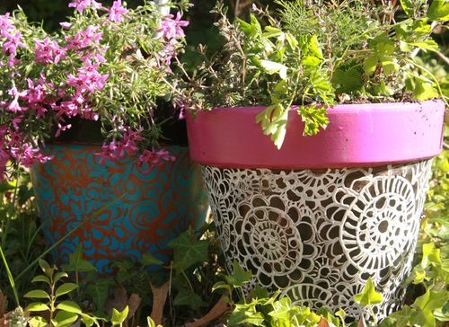 photo: cool and colorful garden planters